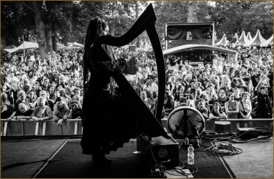 Warming up the harp for the Pagan Night